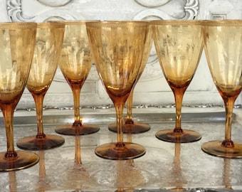 Vintage Amber Goblets / Amber and Gold Stemware / Cambridge Amber Optic Goblets With Gold Rim / Set of Seven Goblets