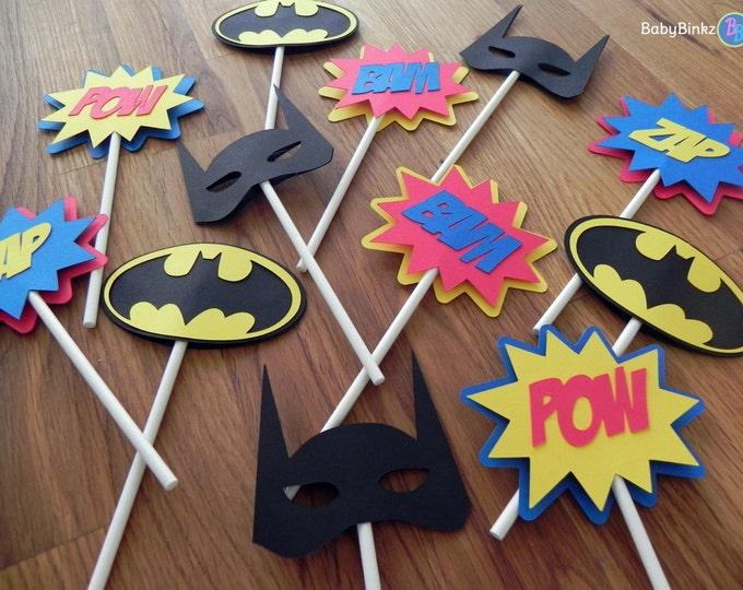 Die Cut Batman Logo Cupcake Toppers - superhero batman comic birthday party decorations wedding