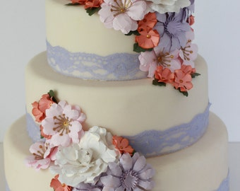 Paper floral wedding cake flower, wild flowers, peonies, daisy paper flower wedding cake flowers-made to match your wedding colours