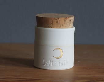 Urn, custom pet urn, straight corked urn in custom color, name, date. modern custom urn. White porcelain, bone white with gold crescent moon