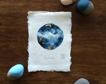 """Original Art Moon """"Lune"""" watercolour painting with gold leaf highlights in Gold frame"""