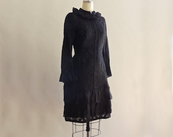 1960's Sara Fredericks Designer Couture Black Lace Dropped Waist Dress Size Small