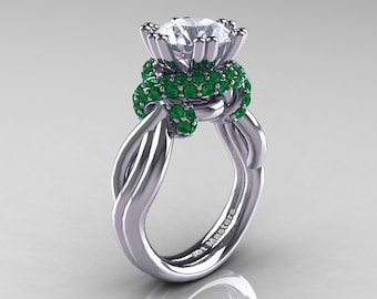 Classic 14K White Gold 3.0 Ct White Sapphire Emerald Knot Engagement Ring R390-14KWGEMWS