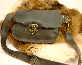 Distressed Grey Leather Fanny Pack with Antique Brass Swing Clasp
