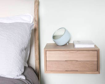 Floating Oak Double Drawer Bedside
