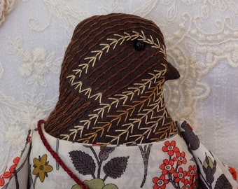 Dulce- A Hand Embroidered Wren Folk Art Rag Doll