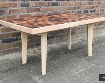 New Retro Design Mid Century Modern Coffee Table Solid Beech Burnt Top