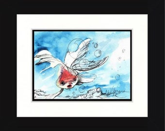 Fancy Goldfish watercolor print artwork home decor painting