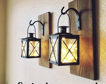 Set of Hanging Lantern Sconces,Farmhouse Wall Decor, Lantern Sconces, Black, Lanterns, Wood Sconce with Lantern, Country Decor, Small