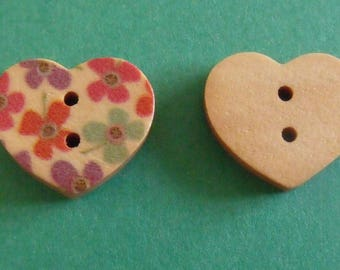 wooden buttons, set of 10, heart, 15mmx17mm