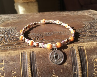 Chinese Prayer Coin Anklet, Silver Coin Anklet, Prayer Coin Anklet, Silver Charm Anklet, Wood Bead Anklet, Macrame Anklet, Boho Anklet