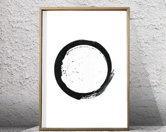 Abstract Watercolor Black and white Art Print Circle Geometric Print Zen Buddhist Ink Painting Monochrome Minimalist art Abstract Printable