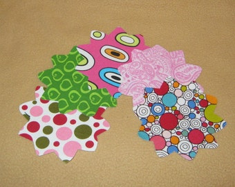 5 Assorted Mum Flower Appliques  Iron On Sew On  3 1/4 x 3 1/4