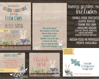 Bunny Flower Veggie Garden Invitation Suite (any event!) - Professional Prints or DIY Printing