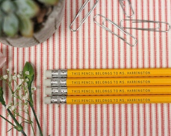 Set of 4 Teacher Pencils - Personalized Pencils, Custom Pencils, Engraved Pencils, Personalized Pencils, Teacher Gift --24009-PN04-110