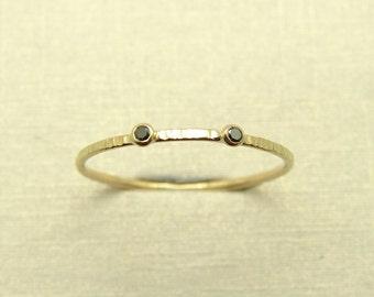 Black Diamond Ring, Diamond Stacking Ring,Thin Diamond ring, 14k Solid Gold