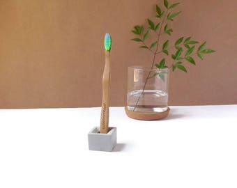Concrete toothbrush holder, cement toothbrush holder, single toothbrush holder, beton, minimalist decor, toothbrush cup, modern decor