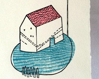 Dream House - Original Linocut Print - LIMITED EDITION of 17 - 21x29 cm