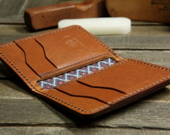 The Commander. A Handmade Leather Bi-fold Wallet with a Minimalist Design.