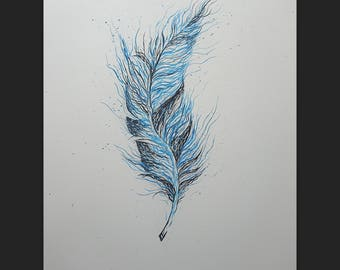 """Feather' 19.6"""" x 27.5"""" Original Acrylic Painting On Canvas"""