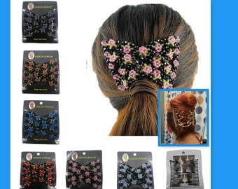 1, Hair Comb, Hairdressing Tool, Hair Accessories, Hair Styling, Floral with Glass Beads, Elegant Hair Items, Hair Crafting, #238W