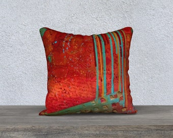 Red Abstract Pillow Cover ll