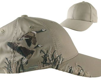 Custom Personalized Canadian Geese Large Embroidery Adjustable Full Fit Taupe Baseball Cap Front Decor Selection + Options for Side and Back