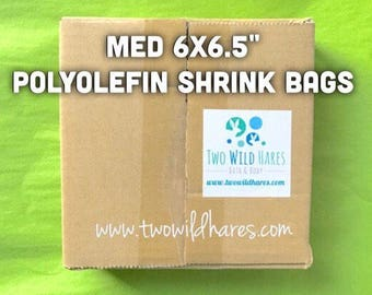"""500-MED 6x6.5"""" POLYOLEFIN Shrink Bags (Smell Through Plastic), 75 g, BEST Wrap for Soap, Bath Bombs Etc,  Two Wild Hares"""