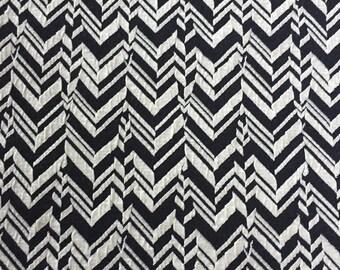 Herringbone Jacquard Knit Fabric. Black And Off-white Geometric Designer Knit Fabric