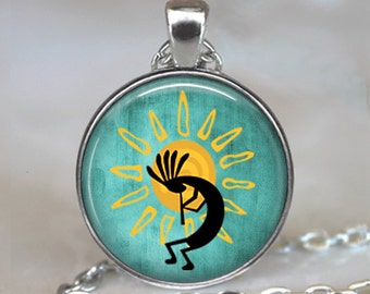 Kokopelli Sun Dance necklace, Kokopelli jewelry, Kokopelli pendant, flute player pendant, fertility diety, keychain key chain