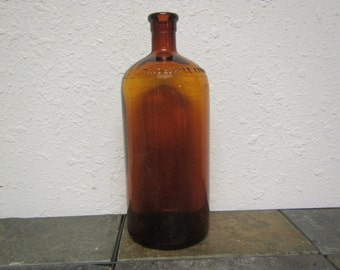 vintage Brown GLASS HI-LEX Bottle .  uses push in stopper instead of a cap :  mid century