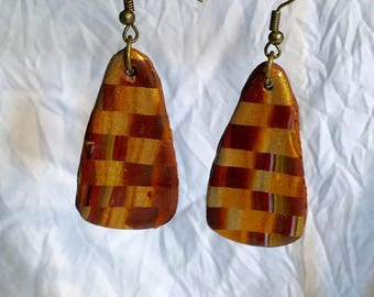 Oval polymer clay, wood, iridescent tone checkerboard pattern earrings