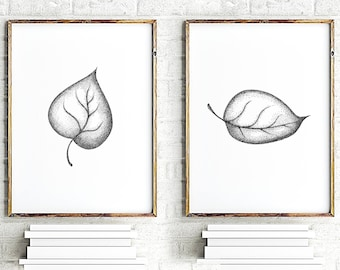 Leaves print, leave art, botanical painting, minimalist art, black white wall decor, floral wall art print, set of 2 prints, grey prints set