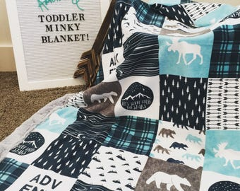 Minky Baby blanket Blue Adventure boy
