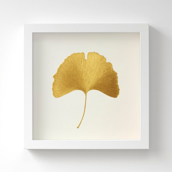 Ginkgo Leaf Original Painting Botanical Gold Art Hand
