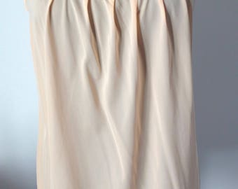 Vintage slip dress 70's, pink, salmon color, synthetic, lightweight, S/36, baby doll.