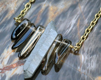SALE - Smoky Quartz and Titanium Crystal Shard necklace on long vintage brass chain.  Boho style - natural jewelry - nature - spike necklace