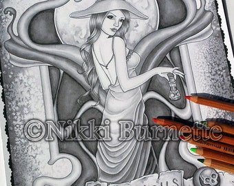 Adult Coloring Page - Grayscale Coloring Page Pack - Printable Coloring Page - Digital Download - Fantasy Art - PRISCILLA - Nikki Burnette