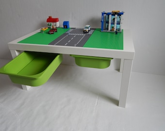 """Large Brick Building Activity Table 30""""x20"""" Green with Road Way Building Surface on White Table"""
