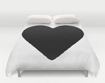 Heart Duvet Cover, Twin, Queen, King, Black and White Bedding, Kids Room Decor, Girls Bedroom Decor, Kids Duvet Cover, Girls Bedding