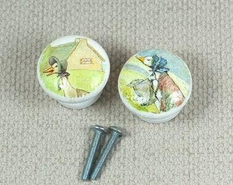 Jemima Puddleduck Handpainted Knobs, Wooden Knobs, Drawer Handles, Dresser Knobs, 3.5cm dia. Sets Available. Free Gift Wrapping!