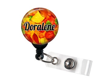 Personalized Autumn Leaves, Retractable ID Badge Reel