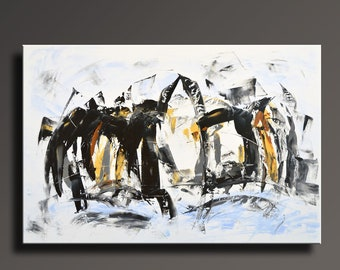 "48"" Large ORIGINAL ABSTRACT White Yellow Gray Black Painting on Canvas Contemporary Abstract PENGUINS Modern Painting Wall Art Home Decor"