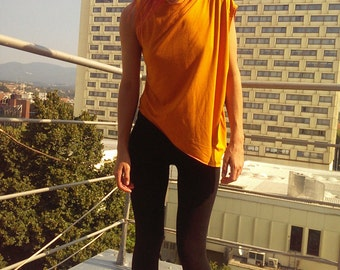 Asymmetrical Minimalist Women's Top/Casual Orange Women's Shirt/Designer Stlylish Tee/Oversized Top