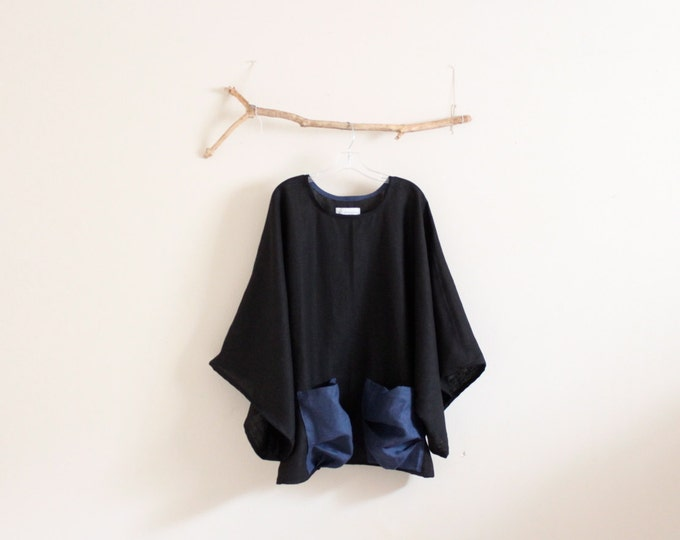 oversize heavy linen wide kimono sleeve top crunched pockets made to order / big pockets linen top / kimono sleeve oversized top/ linen