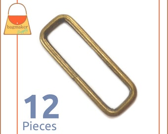 "2 Inch Rectangular Wire Loops / Rings, Antique Brass / Bronze Finish, 12 Pieces, Purse Handbag Bag Making Hardware, 2"" Rectangle, RNG-AA211"