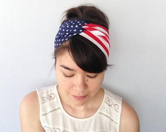 American Flag Headband, Stretchy Fourth of July Twist Turban