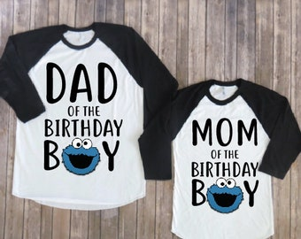 Mom and dad of the birthday boy- cookie monster version, cookie monster birthday shirt, cookie monster birthday party,cookie monster parents