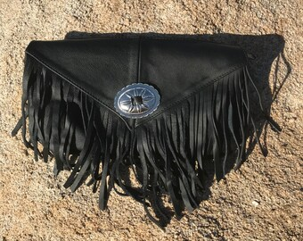 Leather Fringe Concho Clutch