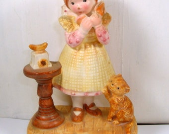 Vintage Holly Hobby Figurine, Nice To Hear From Someone Dear, Friendship, Little Girl, Old Fashion Phone, Cat, 1974  (67-15)